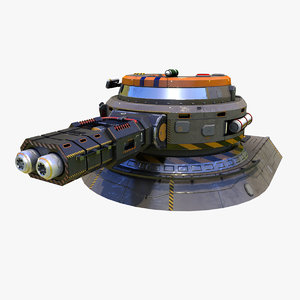 low-poly heavy plasma turret 3d model
