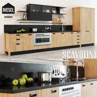 3d model scavolini diesel kitchen