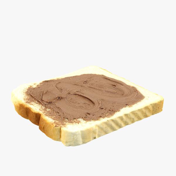 realistic nutella toast 3d max