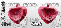 3d-printable valentine crystal-heart-twoletters pendant 3d dxf