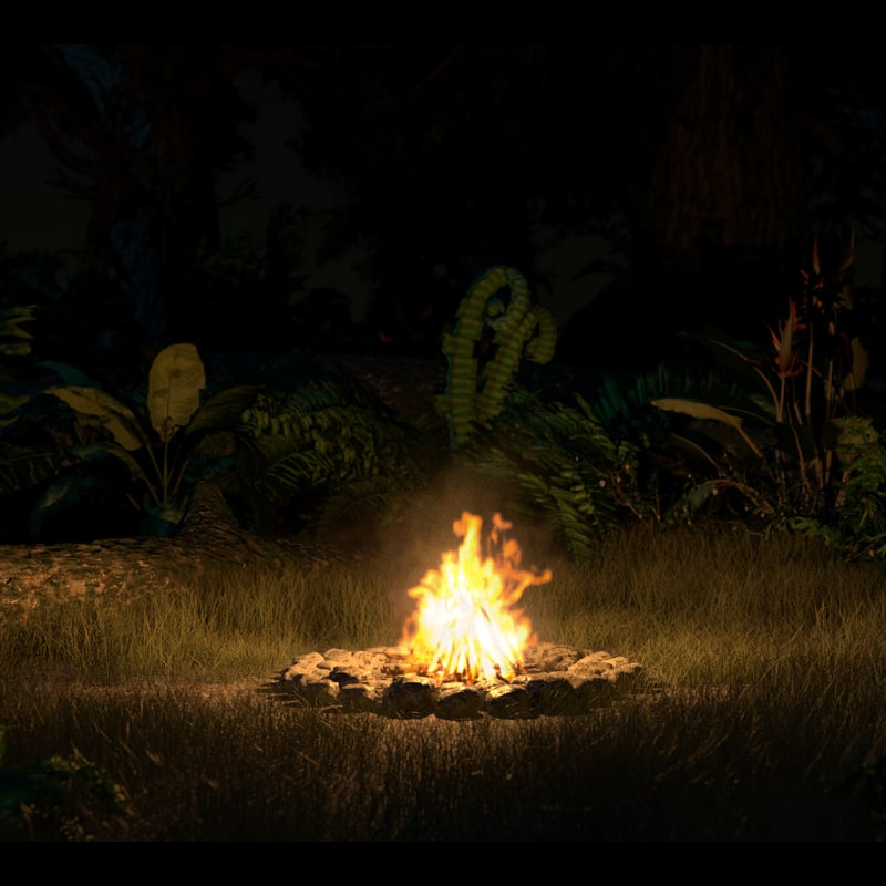 3d campfire volumetric loop animation