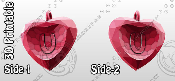 3d model of 3d-printable valentine crystal-heart-twoletters pendant