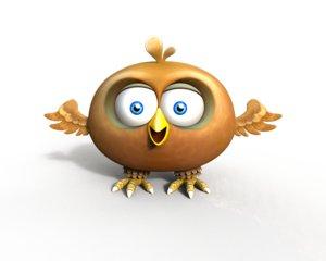 cartoon bird 3d x