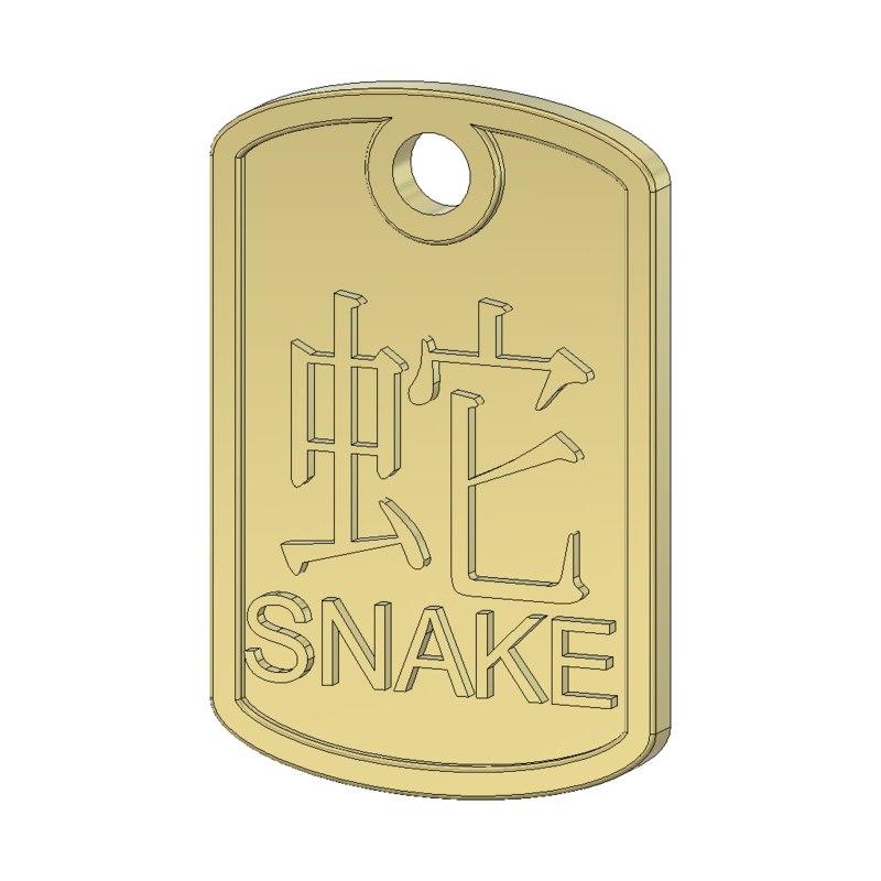 3ds snake zodiac pendant