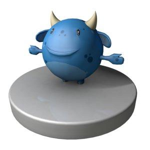 blue monster 3d obj