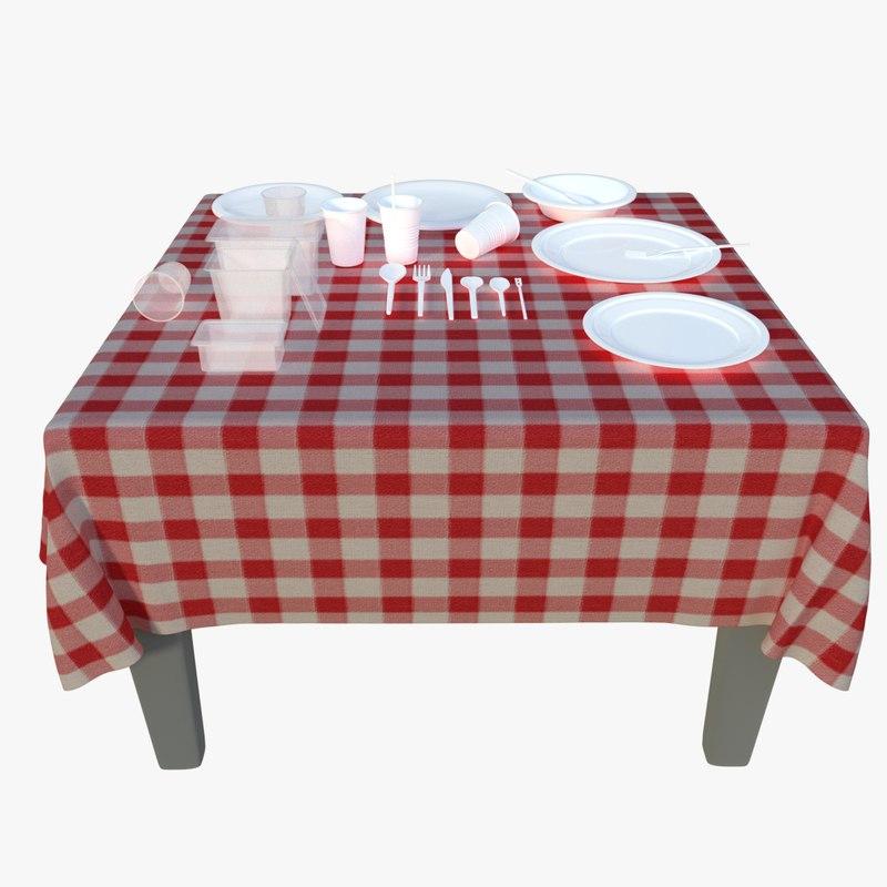 plastic disposable tableware set 3d model