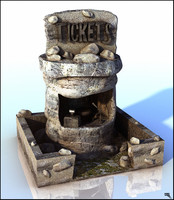 cabine ticket cartoon 3d model