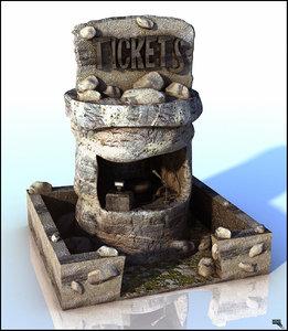 cabine ticket cartoon 3d model