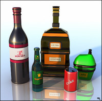 3d bottle cartoon toon