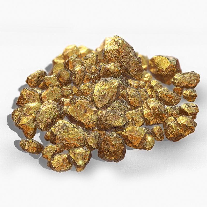 3d gold nugget model