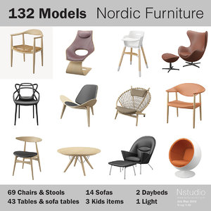 3d 132 - nordic furniture chair