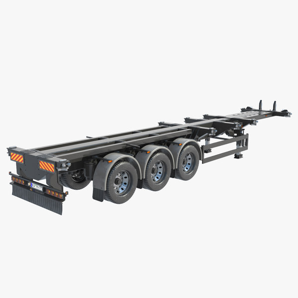 shipping container trailer 3d obj