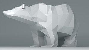 polar bear cartoon 3d obj