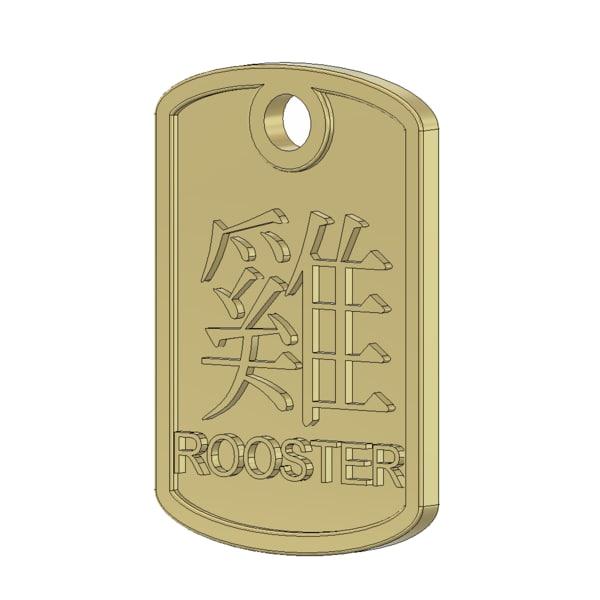 rooster zodiac pendant 3d dwg