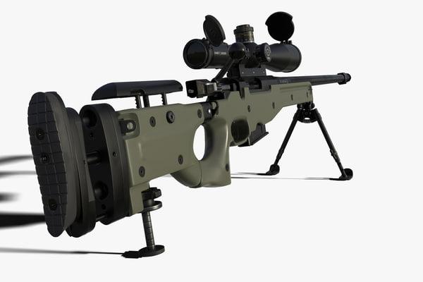 3d sniper rifle l96a1 model