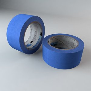 3d model roll blue masking tape