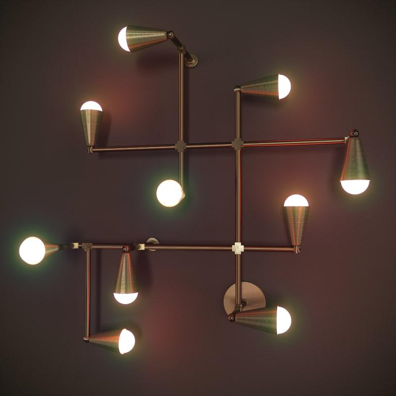 zigzag lamp 3d max