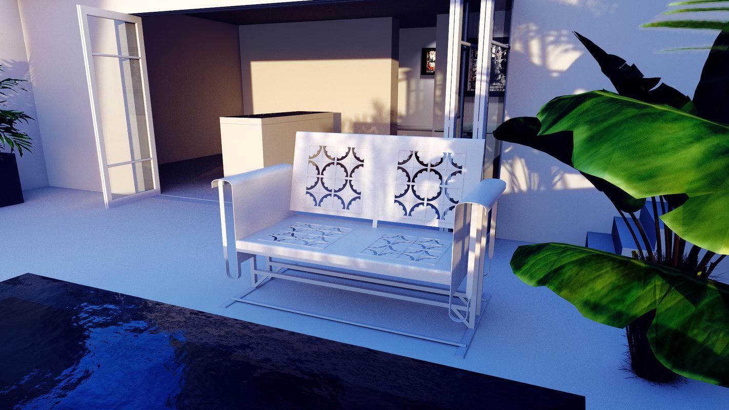 3d white bench garden model