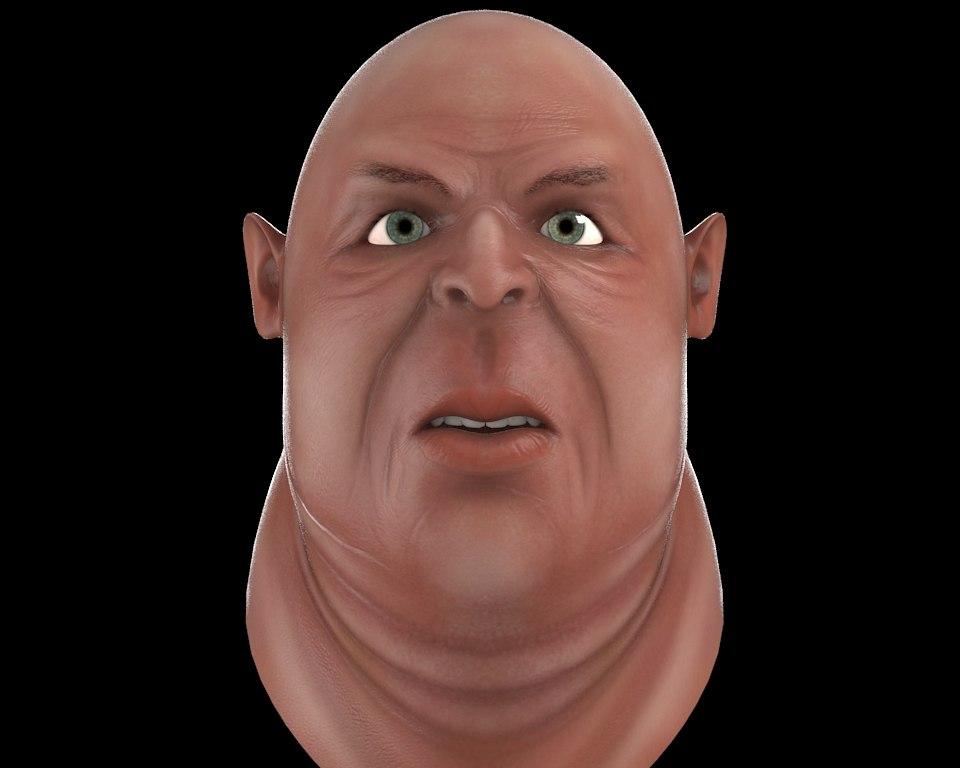 3d model ugly fatman head