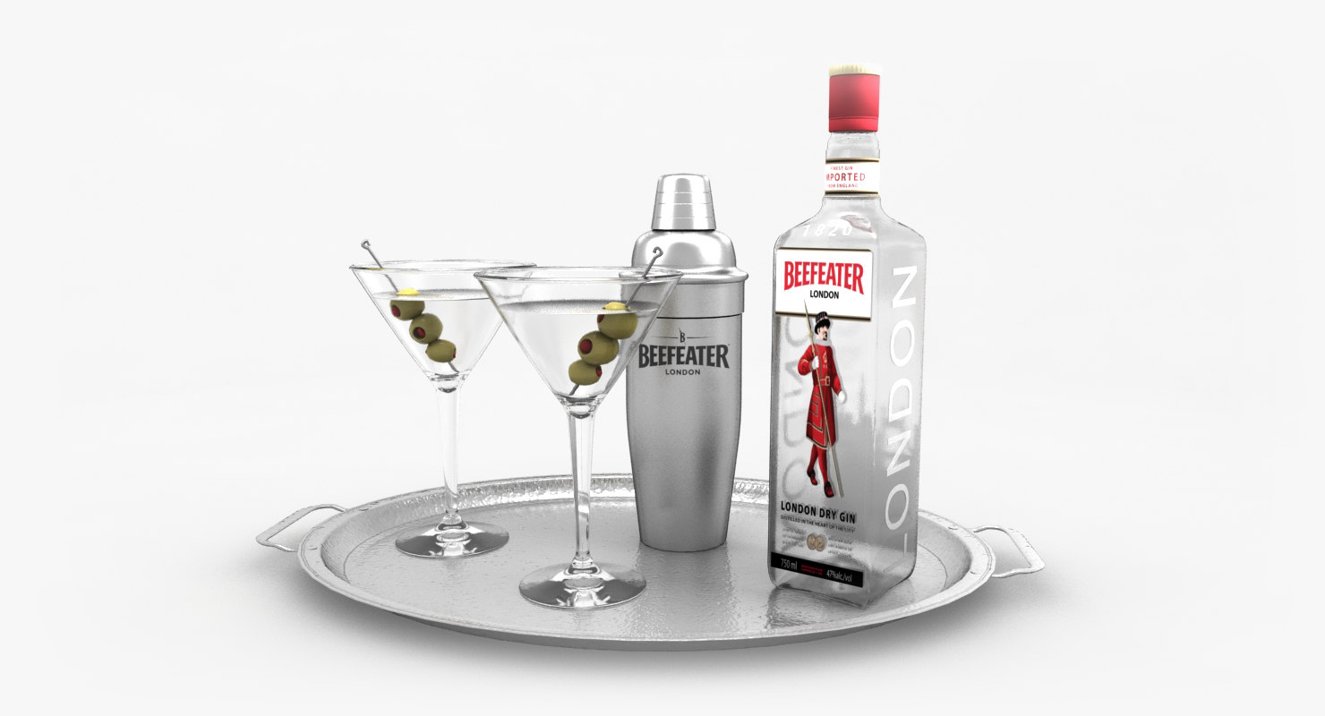 3d model beefeater gin set martini