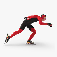Speed Skater Generic Runs 3D Model