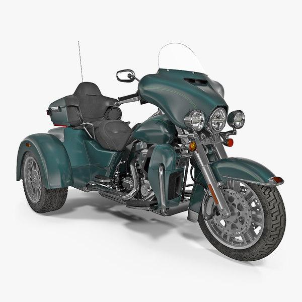 3d model trike motorcycle green generic