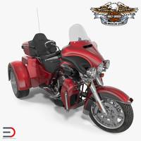 Harley Davidson Tri Glide 2016 Rigged 3D Model
