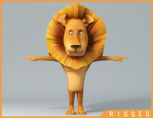 3d cartoon lion rigged model