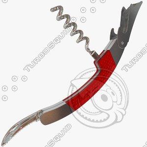 corkscrew bottle opener 3d fbx