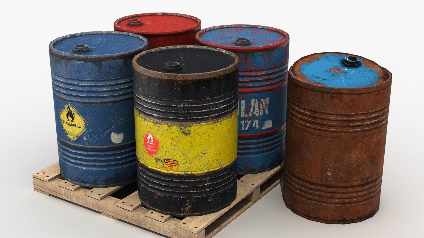 metal barrels 3d model
