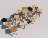 wood stool set 3d model