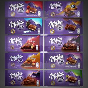 milka chocolate bar 3d max