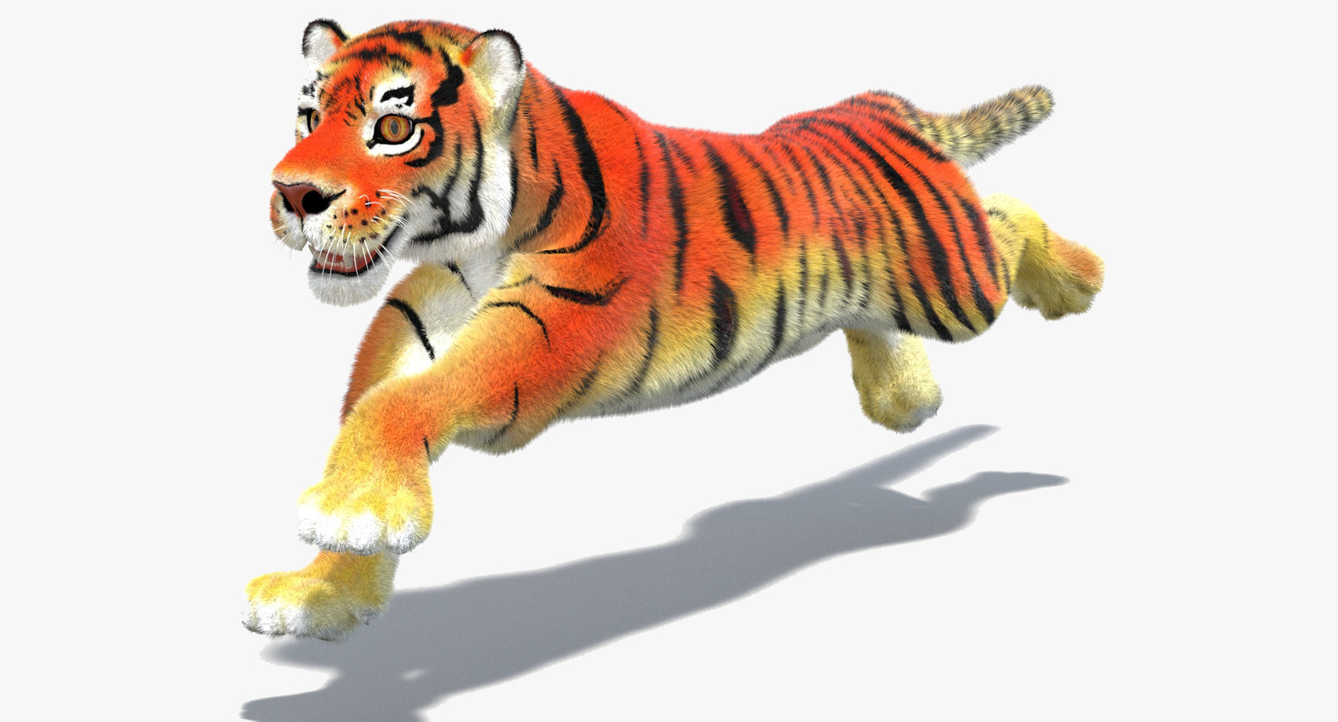 3d max cartoon tiger fur cat