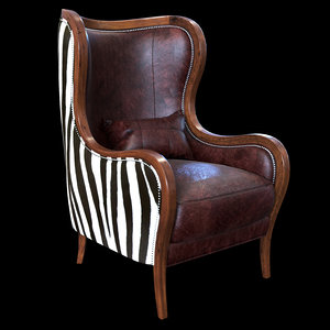 3d obj chocolate zebra wing chair