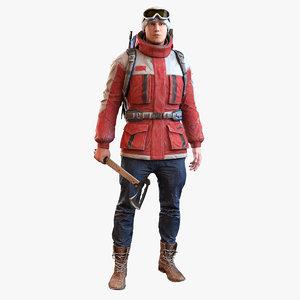 realistic bag character 3d model