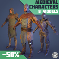 3d model medieval characters real-time male female