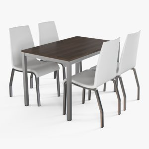3d model modern table chairs