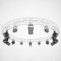 stage lights circle square 3d model