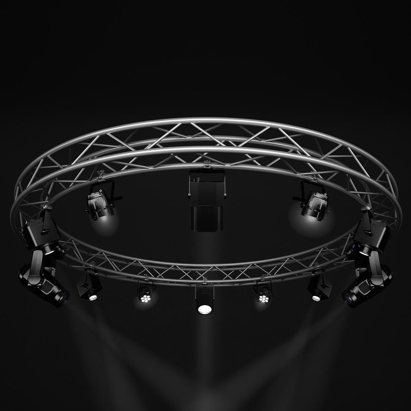 3d model stage lights circle square