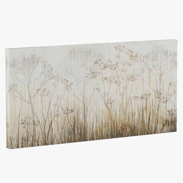 3d model atgr1486 wildflowers ivory painting