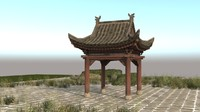 japanese ancient architecture dilapidated 3d max