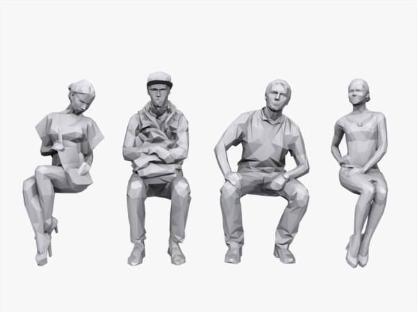 3d sitting characters