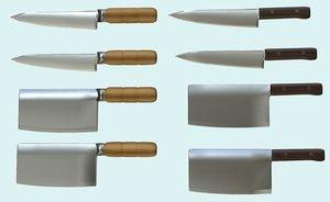 clean cleaver knife pbr 3d obj