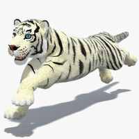3d white cartoon tiger fur