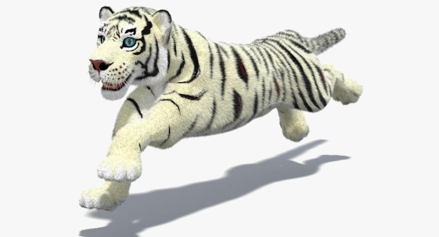 3d white cartoon tiger fur