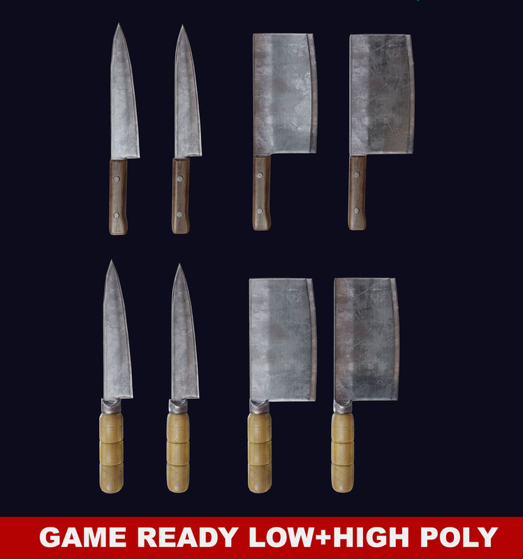 3d cleaver knife pbr ready model