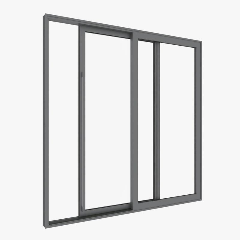 double slide window 3d model
