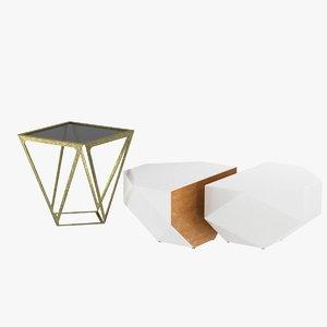 tables grey glass designed 3d model