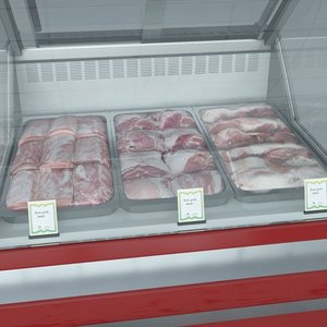 custom refrigerated showcase meat 3d model