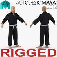 Japanese Karate Fighter Black Suit Rigged For Maya